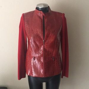 Jackets & Blazers - Red moto zip jacket faux alligator print size S